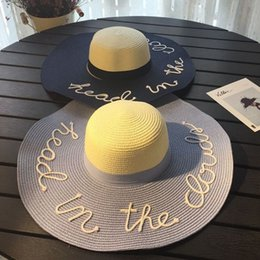 Wholesale Ladies Wide Brimmed Straw Hat - Fashion wide Brim summer beach sun hats for women Letter Embroidery straw Hats caps ladies girl sunscreen big foldable hat holiday 2017 new