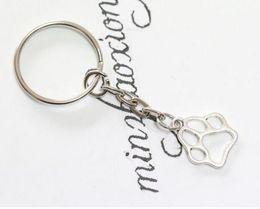 Wholesale Zinc Alloy Paw Print Charm - Dog Cat Paw Print Charm DIY Keychain,Silver Tone Key Chain Keyring Fashion Pendant Jewelry 50pcs lot