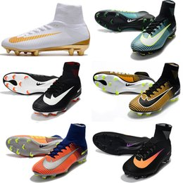 Wholesale White Mesh Jacket - 2018 CR7 Football Shoes Mercurial CR7 Superfly V FG Boys Soccer Shoes Young Youth Soccer jacket New Cristiano Ronaldo shoes 39-46