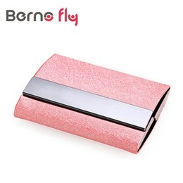 Wholesale Aluminium Card Case Wallet - Wholesale- New Powerful Maganet RFID card Wallet Pu Leather Aluminium Men Business cards Case Passport ID Card Credit Card Holder wallet