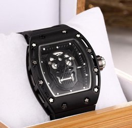 Wholesale Black Skeleton - 2017Luxury brand Fashion Skeleton Watches men Skull sport quartz watch 2