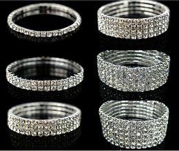 Wholesale Silver Rhinestone Cuff Bracelet - Sparkly Rhinestones Stretch Bangle Wedding Bracelets Bridal Jewelry Free Shipping Cheap Bracelet For Bride Party Evening Prom Dress