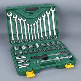 Wholesale Hardware For Boxes - 37pcs Auto Car repair tool sets Combination for one set Tool set with storage box Socket home Wrench Sleeve Suit Hardware Auto Repair Tools