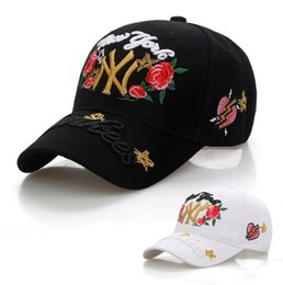 Wholesale Hats Jeans Caps - Women Jeans Embroidery Rose Hats Summer Casual Cheap sunscreen Curved Brim Baseball Cap NE703