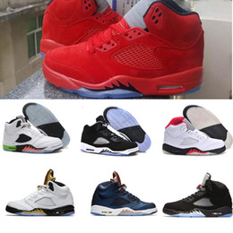 Wholesale Cheap Tongue - air retro 5 basketball shoes 2017 new design Fire & Ice sport shoes cheap sneaker Red Suede Metallic Gold Bronze Tan Tongue Low Neymar