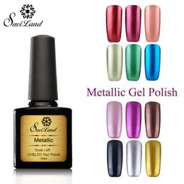 Wholesale Metallic Blue Nail Polish - Wholesale-Saviland 10ml UV Mirror Effect Gel Polish 12 Colors Metallic nail gel varnish Color Nail Art Top Manicure Tools Pick 1