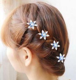 Wholesale Snowflake Crystal Hair Accessories - Wholesale- Fashion Elsa Girls Bride Princess Snowflake Rhinestone Hair Clips Girl kids Crystal Pearl Flower Headdress Hair Accessories Gift