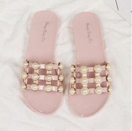 Wholesale Hollow Out Sandals - the summer of 2017 the new European and American fashion pearl shoes, flat non-slip female slippers mesh hollow out breathable Roman sandals