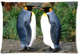 roi personnalisé Promotion 2 pcs Custom King pingouins Motif Zippered Coton Polyester Taie d'oreiller 20x30 (côtés jumeaux)