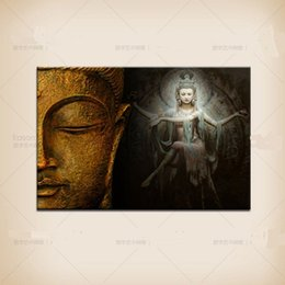 Wholesale Abstract Art Buddha - Framed lifelike tibetan buddha home decor wall art picture, Handpainted Artwork Oil Painting Quality canvas Free Shipping,Multi sizes Re002
