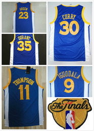 Wholesale Sports Jersey Patches - 2017 Finals patch #30 Stephen Curry 35 Kevin Durant 23 Draymond Green 11 Thompson Road Blue basketball sports jerseys cheap wholesale