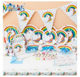 Wholesale Decorative Paper Napkins Wholesale - Unicorn Kids Birthday Party Decoration Set Cups Napkin Hats Supplies Baby Birthday Party Pack Event Birthday Accessory DHL Free Shipping