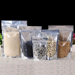 Wholesale Clear Food Bags - Aluminized Stand up Pouch small retail bag aluminum foil+PE Food grade Moisture proof For Snack Cookie Beans Candy coffee etc. Clear+Silver