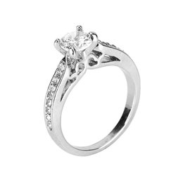 Wholesale jewellery for lovers - Luxury Square Austrian Crystal Ring 925 Sterling Silver 2 Layer Platinum Plated Ring Fashion Lover Wedding Ring Set For Women Jewellery Whol