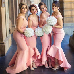 Wholesale Blue High Low Skirt - 2017 Hot Arabic Sweetheart Off Shoulders Bridesmaid Dresses Backless Lace Bodice High Low Dubai Ruffle Skirt Maid of the Honor Dress BA2329