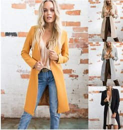Wholesale Yellow Color Wool Winter Coat - 2017 New Women coat fashion winter Long wool blends long sleeve solid Thick Loose overcoats Keep warm Cardigan Trench Coat