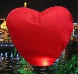 Wholesale Chinese Lanterns Wholesale Heart Shaped - 100pcs Heart shape wedding air Balloons Sky Lanterns Chinese Beautiful Wish paper lanterns for party decorations