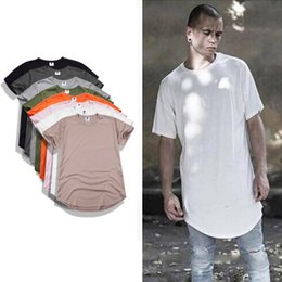 Wholesale Hot Pink Shirts For Sale - Hot Sale Summer Plain T-Shirt For Men Fashion Streetwear Kanye West Short Sleeve Long Tee Cool Oversized Swag Shirt Top MJG0301