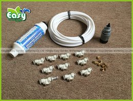 Wholesale Outdoor Cooling Misting System - reuse WHITE 10pcs nozzles Outdoor cooling system with filter and brass sprayer. fog misting system, patio cooling,mistscaping.