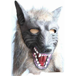 Wholesale Holloween Props - Scary Gray Wolf Head Masks Latex Mask Animal Party Devil Makeup Dance Mask Holloween Cosplay Props