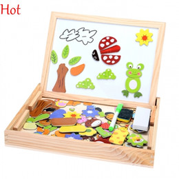 Wholesale Hot Wood Toy - Hot Wooden Toys Easel Kids Jungle Animal Magnetic Drawing Board Puzzle Painting Blackboard Learning & Education Toys For Kids Sale SV016699