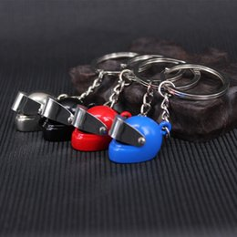 Wholesale Girl Motorcycle Helmets - New arrival key rings Motorcycle Helmet Key Rings Creative alloy gift key ring men free shipping