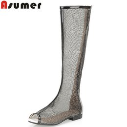 Wholesale Medium Air Wedge - Wholesale- 2016 new fashion sexy Gladiator sandals Women Knee High boots hollow Sexy Peep Toe Women's Fashion ladies cool Boots