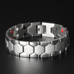 Wholesale H Ornament - 2017, explosion, domineering men's health care magnet, titanium bracelet, gold bracelet, radiation stainless steel jewelry, foreign gifts, h