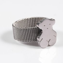 Wholesale Cute Women - 2017 Stainless Steel 100% Bear Ring Silver Plated For Women 4 Sizes 2 Colours Cute Fashion