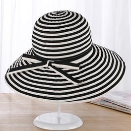 Wholesale Butterfly Beach Resort - New fresh striped butterfly knot strip sun hat summer sun can be folded big along the sun hat lady