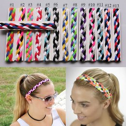 Wholesale Softball Braided Headbands - Softball Running Sports Braided Headbands Sweat Silicone Non Slip Grip Scrunchy Women Girl Soccer Yoga Elastic Hair Bands