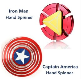 Wholesale Puzzle Blue - Creative Captain America Shield Hand Spinner Iron Man Fidget Alloy Puzzle Toys EDC Autism ADHD Finger Gyro Toy Adult Gifts Ship in 1 day