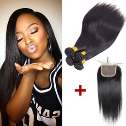 Wholesale Indian Hair Closure Piece Remy - B2B Wholesale Remy Human Hair Extensions 4 bundles with Closure Brazilian Straight Virgin Hair Bundle Daily Deals Peruvian Malaysian Indian
