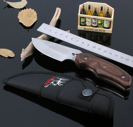 Wholesale Small Wood Clip - Sport Hunting Knife Small Gift Camping Knife Elk Small Straight Knife Holder with The Clip Color Wood Gift