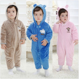 Wholesale Thick Girl One Piece - 2017 Winter Baby Rompers Fleece Thick Newborn Clothes Outfits Baby Boy Jumpsuit Girl One-Piece Clothes Hoodies Animal Cute Coat bodysuits