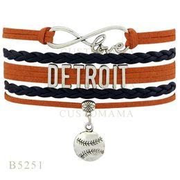 Wholesale Infinity Bracelet Orange - Custom-Infinity Love Detroit Baseball Multilayer Charm Bracelets Christmas Gifts Bracelet Orange Black Leather Custom Womens Bracelet
