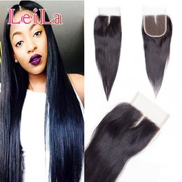 Wholesale silk top lace closures - Mongolian 100% Unprocessed Human Hair Straight hair Silk 4X4 Lace Closure Top Closure 8-22inch