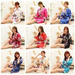 Wholesale Girls Night Gowns - Women Silk Rayon Kimono Bathrobe Girls Mother Robe Night Gown Floral Sleepwear Pajamas 10 Colors OOA1910