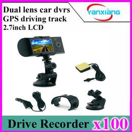 "Wholesale Gps Tracker Car Sd Card - 100PCS Dual lens 2.7""LCD HD Car DVR GPS Tracker Vehicle camcorder Car Camera Driving Recorder G-sensor YX-R300-1"