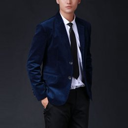 Wholesale Fits Commercial - Wholesale- 2016 spring autumn oversized mens customize suit commercial corduroy blazer male slim fit outerwear solid 5colors jacket gifts