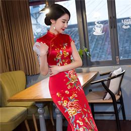 Wholesale Sexy Satin Cheongsam Long - 2017 New vintage elegant high quality plus size short sleeve satin red embroidery long cheongsam wedding dress evening dress qipao