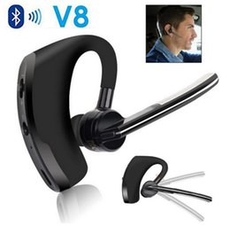 Wholesale Iphone Handsfree Original - Original V8 Handsfree Business Bluetooth Headphone Voice Control Wireless Bluetooth Earphone with mic for Sports Noise Cancelling Headset