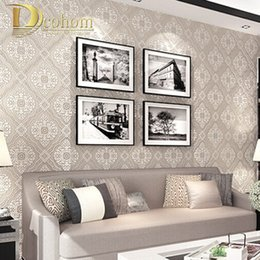 Wholesale Damascus Wallpaper - Wholesale- 3D luxury European style Damascus non-woven embossed wallpaper bedroom living room TV background Home Furnishing decoration R413