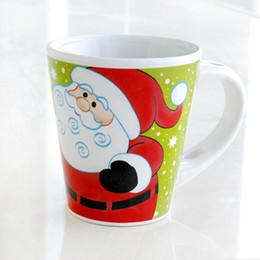 Wholesale Lovely Santa Claus - 12.5cm Cute Santa Claus Porcelain Yellowish Green Cup With Handgrip Lovely Red Glaze Elk Mugs Ceramic Spoon Hole Handgrip