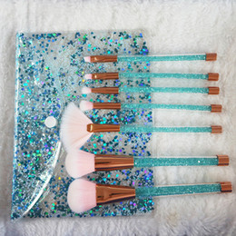 Wholesale Wholesale Crystal Cosmetic Brushes - 15 Styles 7pcs set Glitter Diamond Makeup Brush Set Quicksand Crystal Brush Cosmetics Brushes Powder Eyeshadow Foundation Make up brush Tool