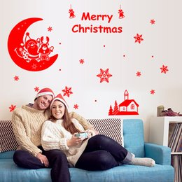 Wholesale Xmas Decals Free - Free Shipping DIY Window Stickers Xmas cartoon Snowflake Wall Sticker glass decals showcase shop store decoration stickers wallpaper