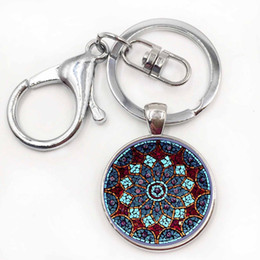 Wholesale Vintage Car Glass - vintage fashion men women mandala glass cabochon keychain buddhism zen charm purse bag car pendant key chain holder