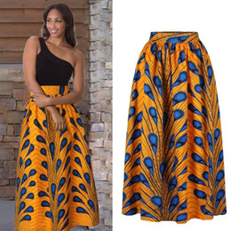 modelli di gonna palla Sconti Peacock Pattern High waist Brazil Puff Casual A Line Ball Gown Floral African Print Maxi Flared Skirts