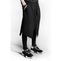 Wholesale Unique Boots - Wholesale-2016 new men's clothing DJ male culottes costume men's black boot cut trousers punk unique design pants plus size M-3XL