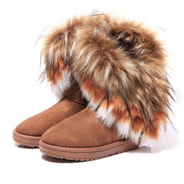 Wholesale Fox Boots - DHL Free hot sale women comfortable imitation fox fur winter warm snow boots casual flats mid calf all match